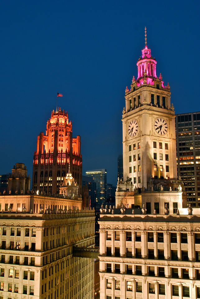 Trib Tower & Wrigley Tower at Blue Hour - Take 1