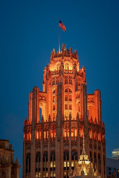 Trib Tower Vertical - Blue Sky & Flag