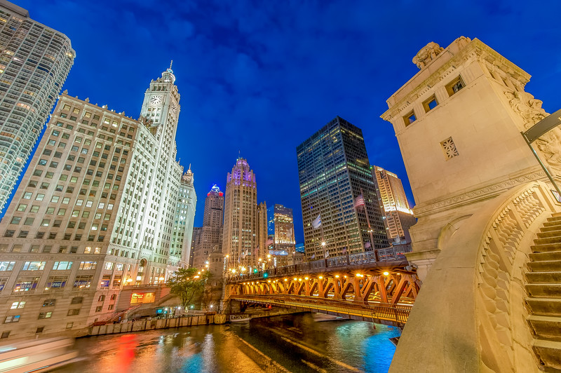 North Michigan Avenue from the Riverwalk at Blue Hour - Summer