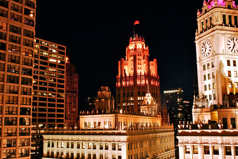 Trib Tower Over Wrigley from Trump - Take 2 - Further Back