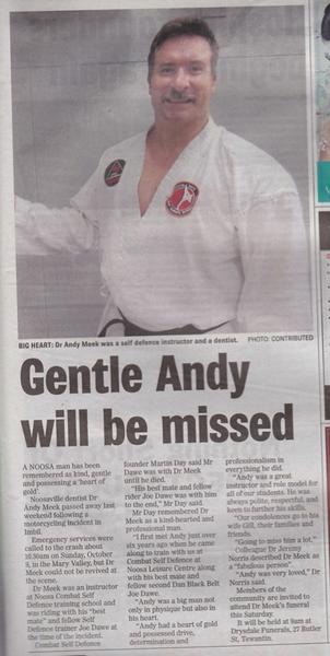 Tribute to Andy 2nd Dan Black Belt Combat Self Defence