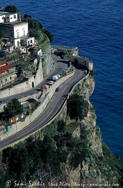 Coastal road leading to Praiano village on the Amalfi Coast, Italy.