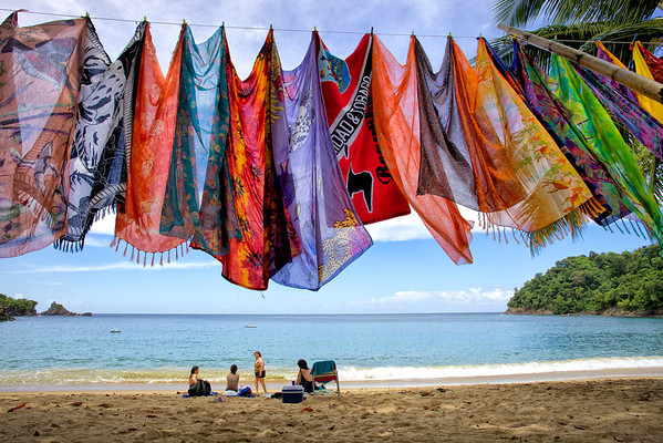 Beach wraps for sale at Englishman's Bay, Tobago