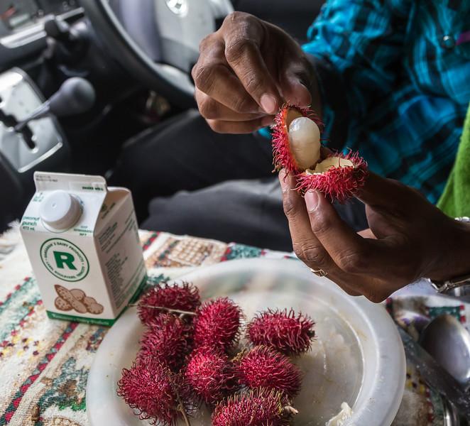 Rambutan – small red spiky fruit