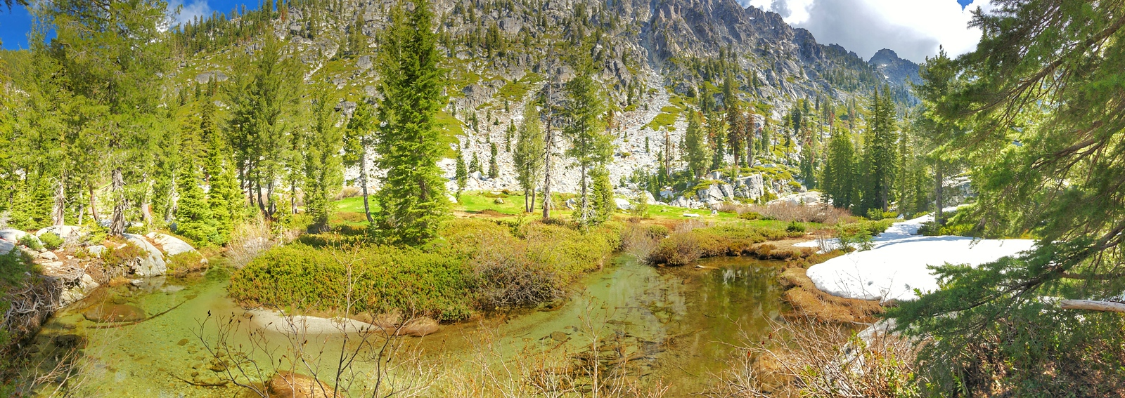Creek coming out of L Lake in Canyon Creeks Lake area of the Trinity Alps.