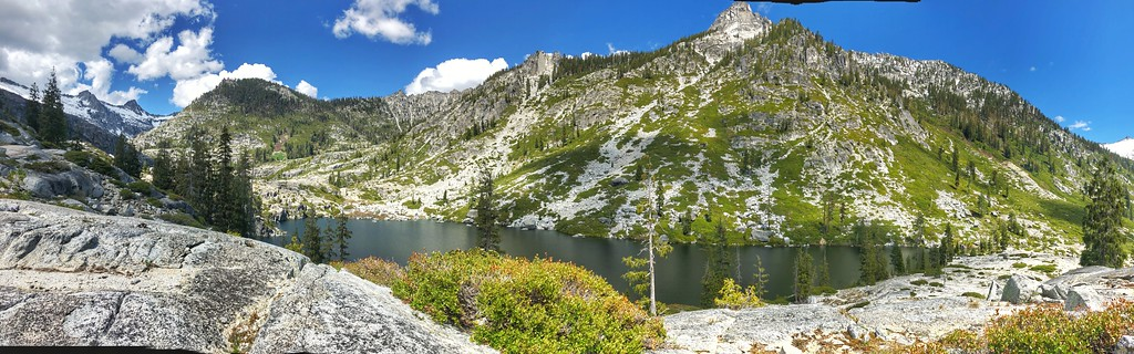 looking towards Little Granite Peak 8,043 ft. Trinity Alps Wilderness Canyon Lake in the foreground.