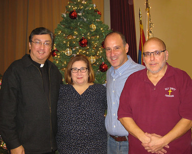 Bazaar Chairmen, Karen Hovsepian, Gregory A. Kolligian, Jr., and Ara Hollisian with Fr. Vasken A. Kouzouian, Pastor.