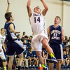20140213 - Trinity's Spencer Klehn (#14) goes in for a layup against Lancaster Baptist. Trinity beat the Eagles 75-39.