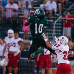 A leaping Rodjay Burns (10) nearly picked off a pass intended for Lafayette\'s Matthew Silvestri (37).