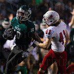 Rodjay Burns (10) racked up five touchdowns in the Shamrocks\' commanding victory.