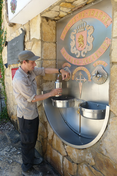 Filling Up the Canteen with Free Wine at the Irache Wine Fountain