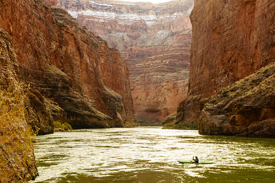Daphnee Tuzlak hits the river after a cold lunch at Redwall Cavern, Grand Canyon National Park.