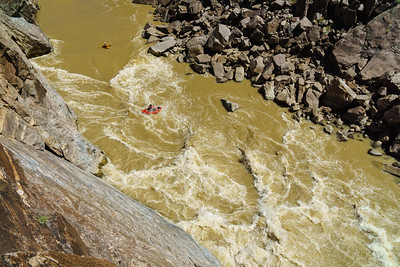 A packrafter leads the charge into Skull on Westwater Canyon of the Colorado River.