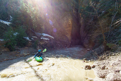 Chad Gibson entering an early narrows on the North Fork of the Virgin.