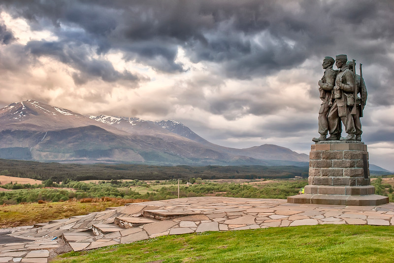 This is a photograph of the Commando Memorial -in memory of the Commandos who trained in the area during WWII near the village of Spean Bridge, Scotland (5/06).