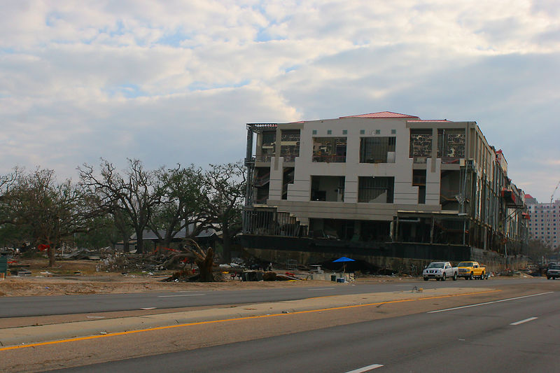 This floating casino was washed up on the north side of Rt. 90 in the Biloxi, MS area.  The casino still had a number of one armed bandits on second floor and some looters were arrested trying to extract money from them one night during our deployment.