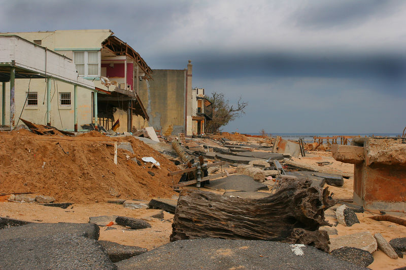This is a photo of what used to be the shore road in Bay St. Louis.  As you can see the entire road is in chunks and business store fronts were removed by Katrina.