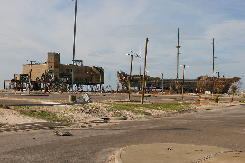 This is a picture of two impacted casinos on the shore in the Gulfport, MS area that were gutted.