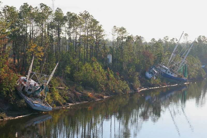 Another picture of shrimp boats in the Gulfport. MS area that were washed ashore.