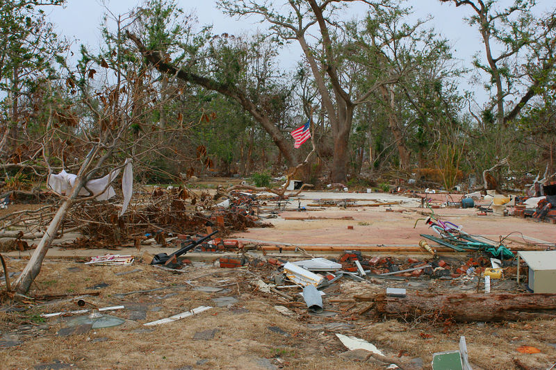 Another typical scene of a flattened home site with a poignant flag on site.  This shot was taken in the Lakeshore, MS area.