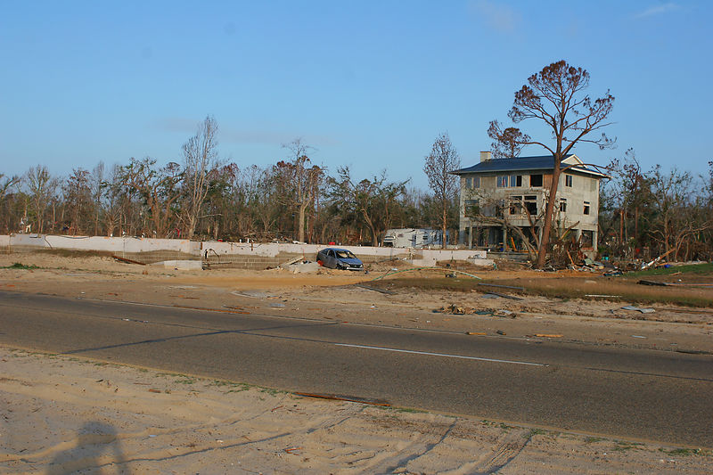 This is a picture of the only remaining house in this neighborhood in Gulfport.  The home is owned by a structural engineer.  Every other home within a quarter mile was destroyed.  It appeared that the home only suffered some window damage. The owner certainly could educate folks how to rebuild in a hurricane prone area.