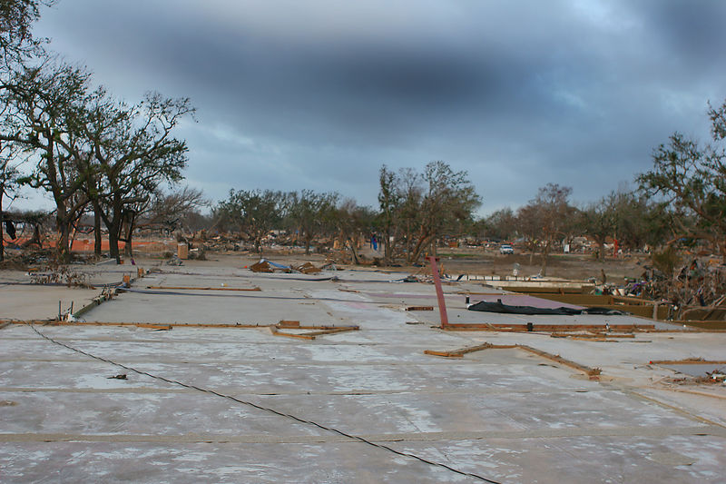 This picture is of an oceanfront neighborhood impacted by Katrina.  The entire Gulf shore of Mississippi was in a similar condition.  For about a quarter mile inland from the coast all the homes were flattened to concrete slabs.