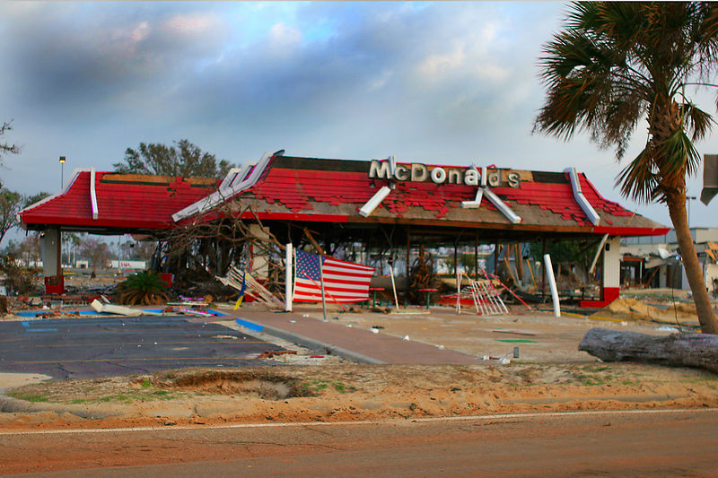 Many of the businesses that suffered damage were beginning to rebuild.  This McDonalds in Gulfport faired OK compared to those trampeled around it.