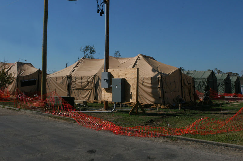 This is a picture of a temporary hospital in the Waveland, MS area. The hospital was set-up by the National Guard.