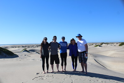 Jackie, Scott, Kim, Chris and Eugene in the dunes