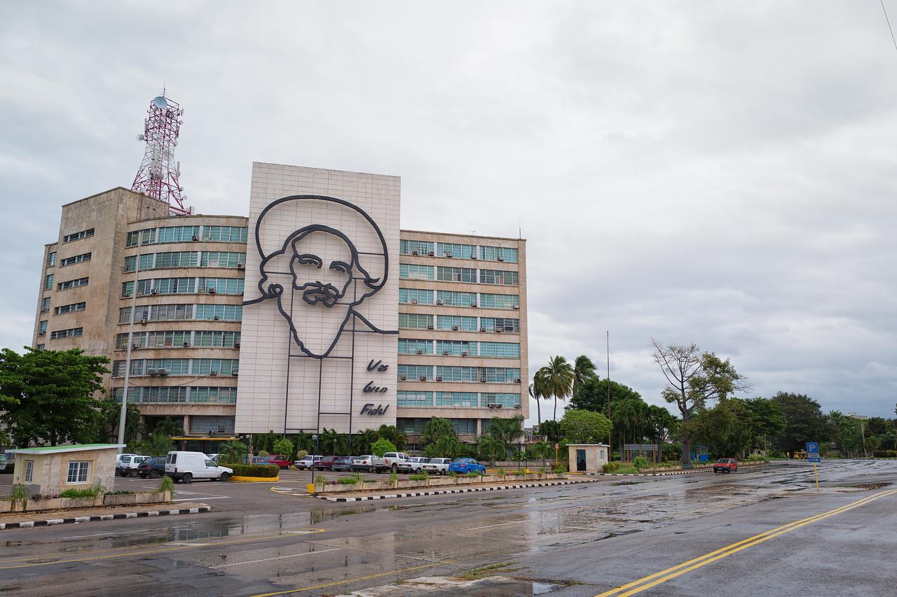 """Havana's Plaza de la Revolución with a steel memorial for Camilo Cienfuegos  with the quote """"Vas bien, Fidel"""" (You're doing fine, Fidel)"""