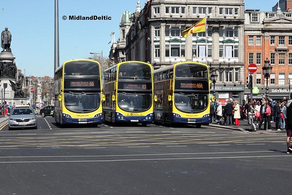 Dublin Bus SG140, GT137, SG331, O'Connell Bridge Dubin, 21-04-2018