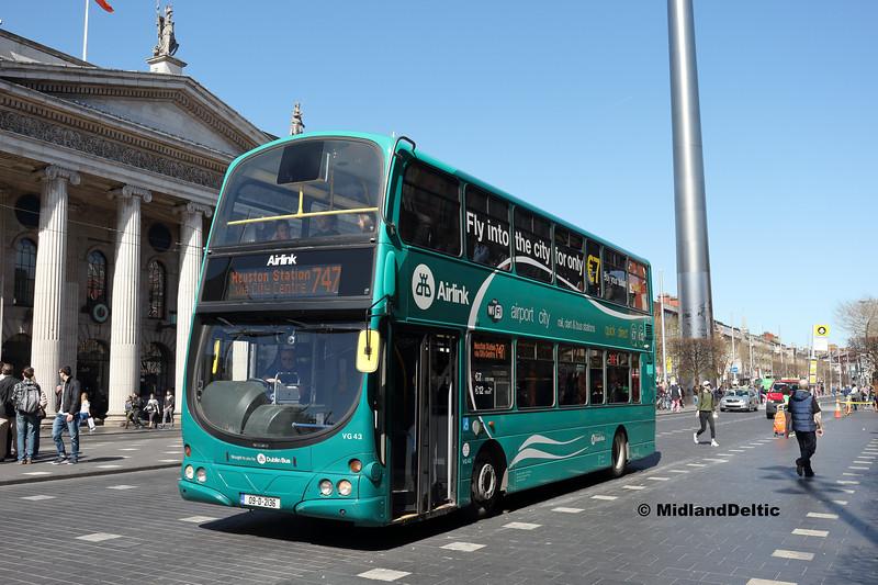 Dublin Bus VG43, O'Connell St Dublin, 21-04-2018
