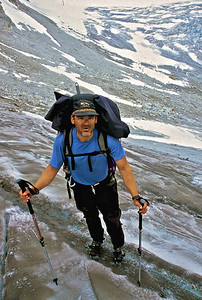 Mark Stevens ready to tackle the glacier head wall approach to pass 4.