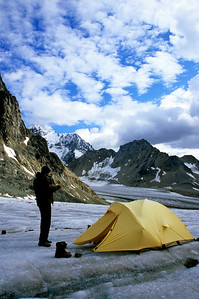 Camp 1 on the ice at the 4500' contour of the un-named glacier that feeds Turquoise Lake.