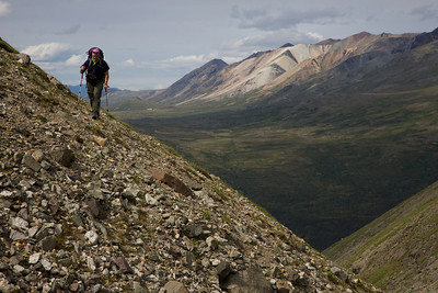 The dreaded side hill - high above the upper Kijik River in Lake Clark National Park.