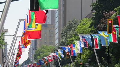 Flags of the world along Sherbrooke street