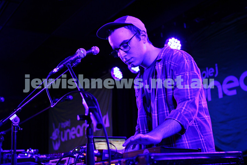 5-9-14. Gab Strum, aka  Japanese Wallpaper, Triple J's Unearthed High winner, on stage at the Unearthed concert at Leibler Yavneh College which also featured hip hop artist Seth Sentry. Photo: Peter Haskin