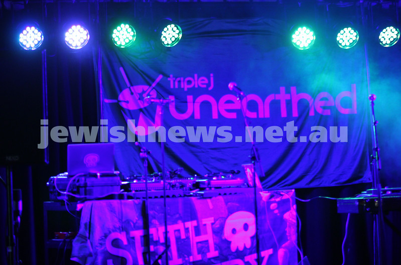 Gab Strum, aka  Japanese Wallpaper, Triple J's Unearthed High winner, on stage at the Unearthed concert at Leibler Yavneh College which also featured hip hop artist Seth Sentry. Photo: Peter Haskin