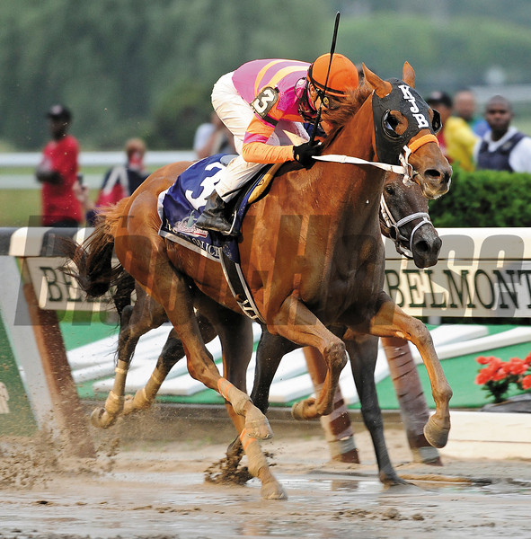 Ruler On Ice with jockey Jose Valdivia Jr. in the saddle out duels Stay Thirsty with Javier Castellano to the wire for the win in the 143rd running of the Belmont Stakes at  Belmont Park in Elmont, N.Y. June 11, 2011.    <br /> Photo by: Skip Dickstein