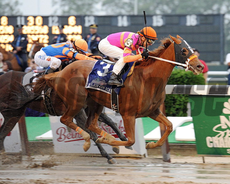 (June 11, 2011) Ruler On Ice, Jose Valdivia Jr. up, holds off Stay Thirsty, to win the 143rd Belmont Stakes.<br /> Photo by: Rick Samuels