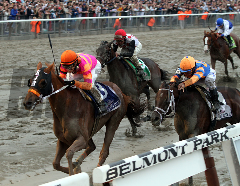 Ruler On Ice w/Jose Valdivia Jr. up wins the 143rd Running of The Belmont Stakes at Belmont Park on June 11, 2011.<br /> Photo by: Rick Samuels