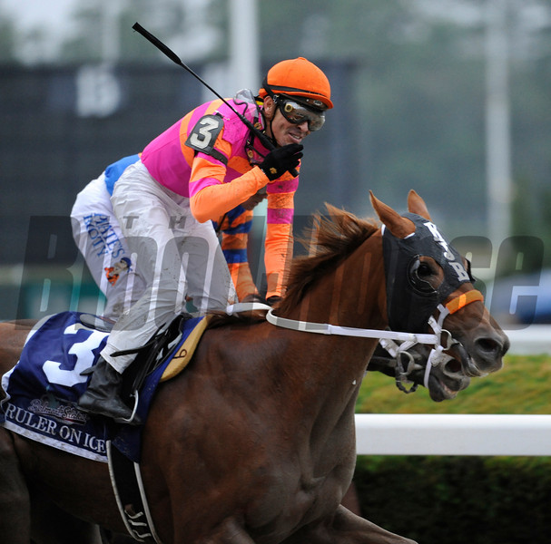 Ruler On Ice with jockey Jose Valdivia Jr. in the saddle reacts after beating Stay Thirsty with Javier Castellano to the wire for the win in the 143rd running of the Belmont Stakes at  Belmont Park in Elmont, N.Y. June 11, 2011.    <br /> Photo by: Skip Dickstein