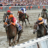 Ruler On Ice w/Jose Valdivia Jr. up wins the 143rd Running of the Belmont Stakes over Stay Thirsty w/Javier Castellano up, Brilliant Speed w/Joel Rosario up, Shackleford w/Jesus Castanon up and Animal Kingdom w/John Velazquez up on June 11, 2011.<br /> Photo by: Rick Samuels