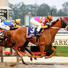 Ruler On Ice and jockey Jose Valdivia Jr. wins the 143rd Belmont Stakes on June 11, 2011.<br /> Photo by: Rick Samuels