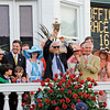 Caption: Winning connections--Animal Kingdom with John Velasquez up wins the Kentucky Derby (gr. I).<br /> Kentucky Derby day at Churchill Downs near Louisville, Ky. on May 7, 2011<br /> Photo by Anne M. Eberhardt