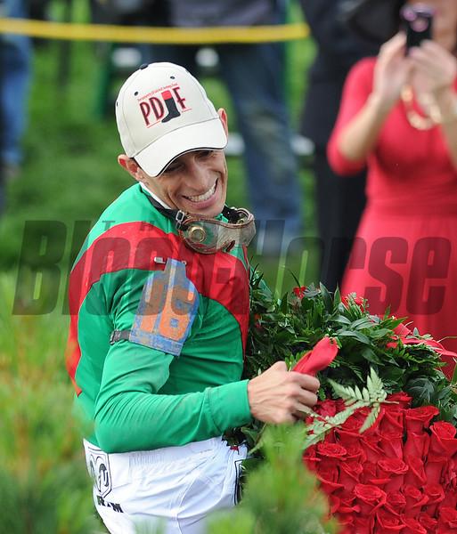 Animal Kingdom John Velazqueaz up, wins the 137th Kentucky Derby ; Churchill Downs, Louisville, kY 5/7/11 photo by Mathea Kelley, winners circle, Barry Irwin