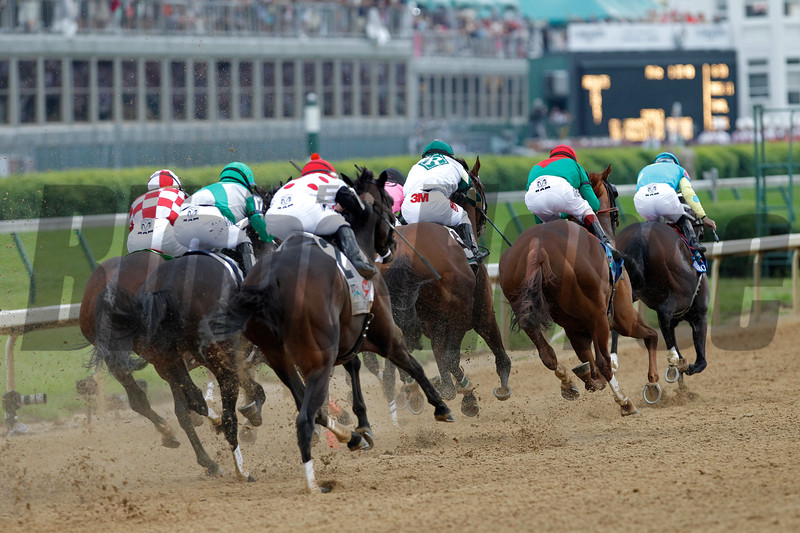 Animal Kingdom and John Velasquez, right, with red cap, ran down the stretch in the 137th running of the Kentucky Derby (G. I) on May 7, 2011.