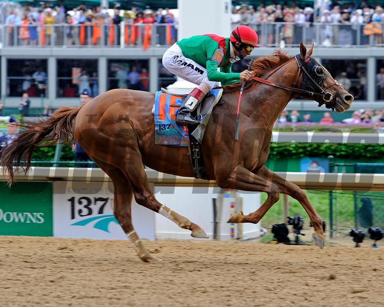 Animal Kingdom with John Velasquez up wins the Kentucky Derby.<br /> Anne M. Eberhardt photo