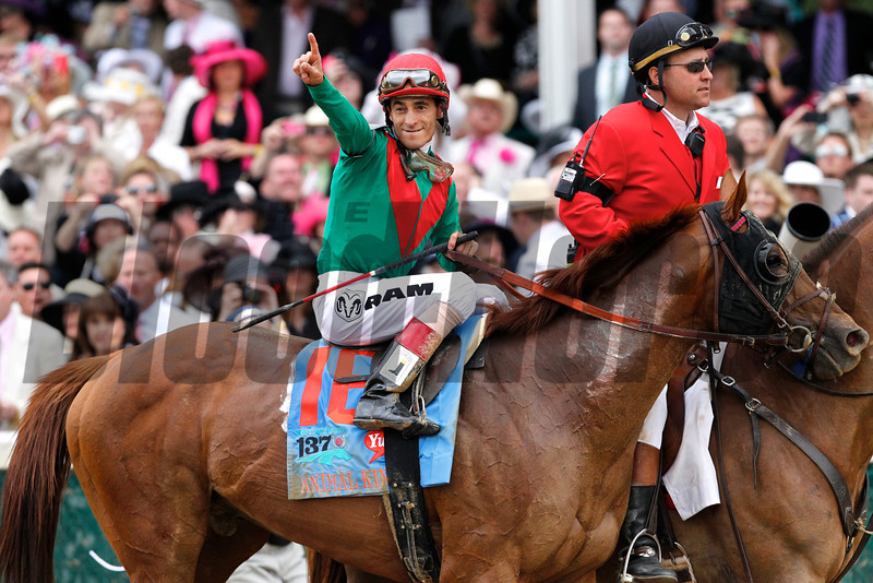 John Velasquez celebrated winning the 137th Kentucky Derby (G. I) aboard Animal Kingdom on May 7, 2011. <br /> Photo by Crawford Ifland.