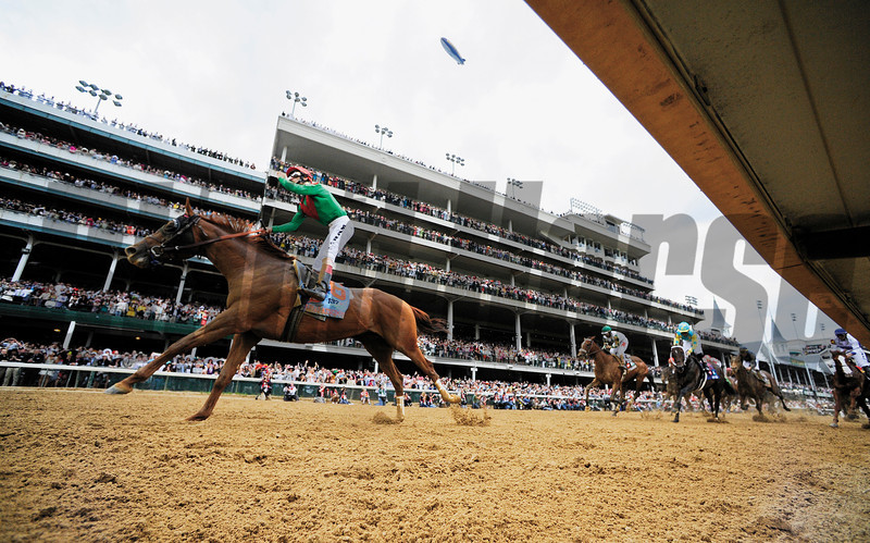Animal Kingdon ridden by jockey John Velazquez wins the 137th running of the Kentucky Derby at Churchill Downs in Louisville, KY May 7, 2011.   <br /> Photo by: Skip Dickstein